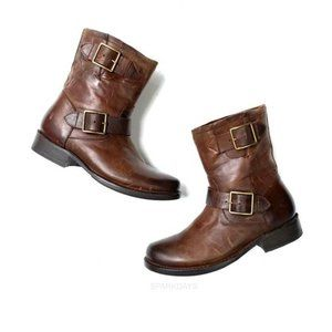 Frye Brown Leather Buckle Boots * 6